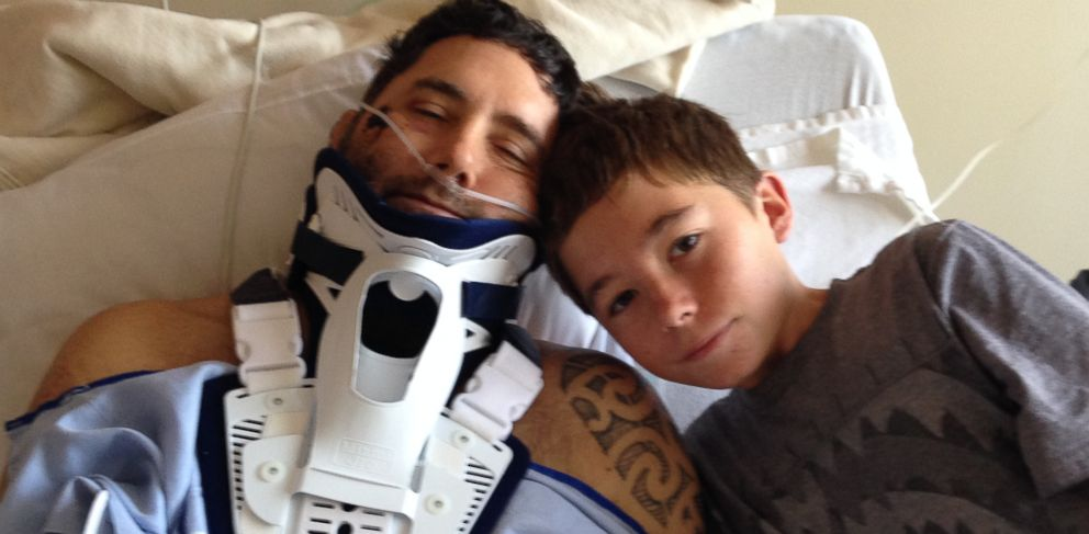 PHOTO: David Finlayson is recovering at home today, after being struck by a refrigerator-size boulder during a camping trip, and he has his 13-year-old son Charlie to thank.