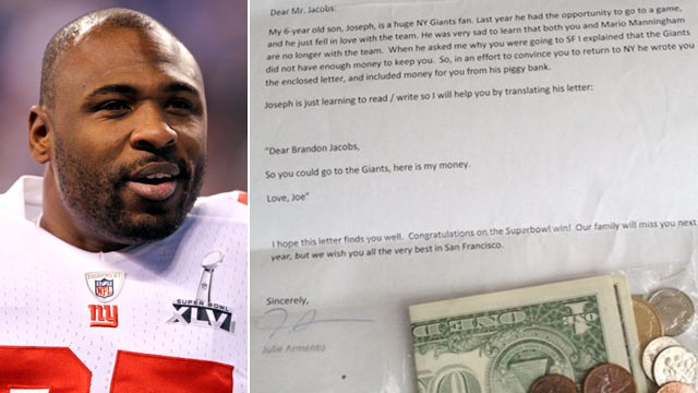 PHOTO: Brandon Jacobs tweeted a photo of this letter from Joe and Julie Armento.