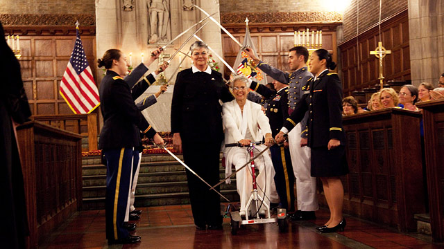 "PHOTO: Brenda ""Sue"" Fulton, 53, and Penelope Gnesin, 52, became the first same-sex couple to get married at West Points Cadet Chapel."