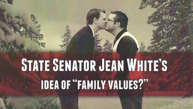 PHOTO: The antigay group Public Advocate of the United States used an altered photo of Brian Edwards and Tom Privitere in a campaign to attack a Colorado senator who supported civil union legislation.