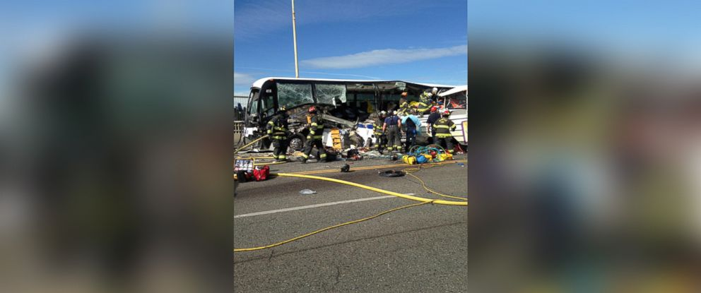 """PHOTO: An image released by the Seattle Fire Department showing the wreckage of the """"Ride the Ducks"""" vehicle."""