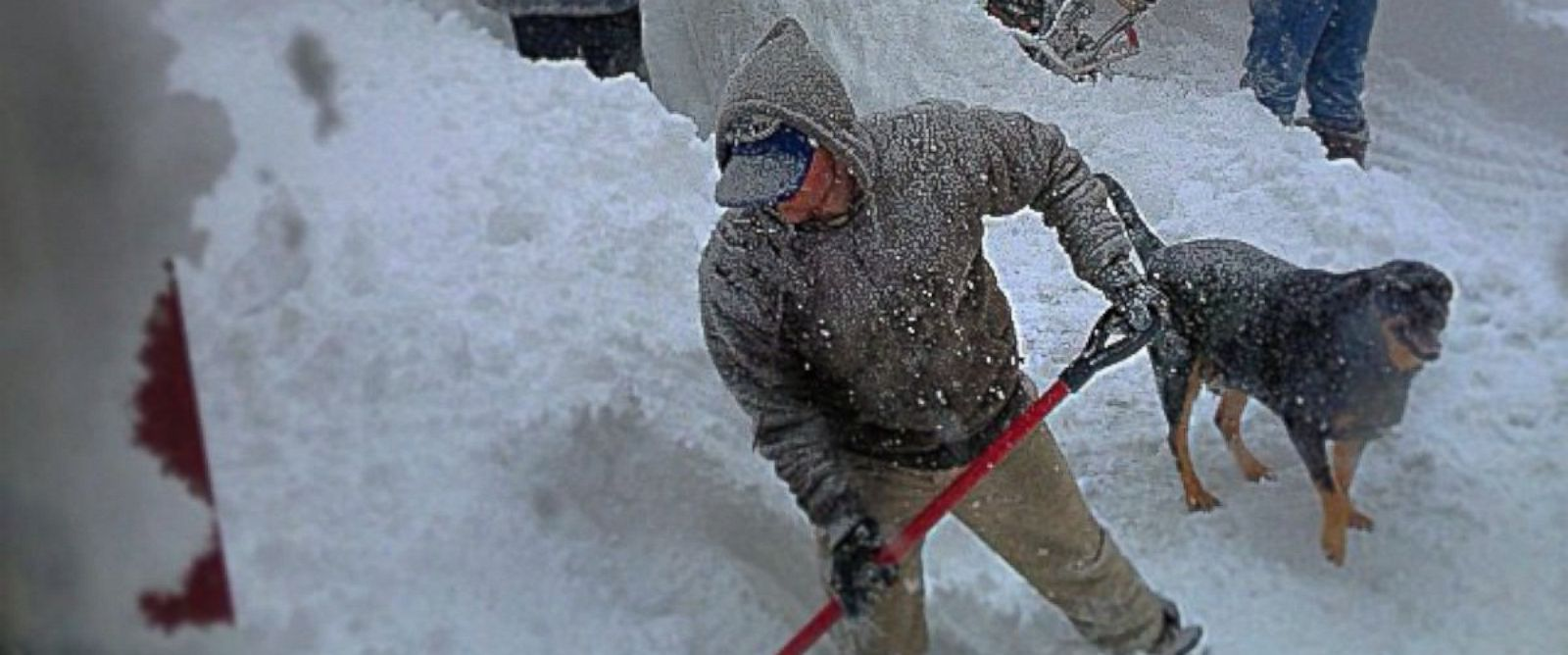 "PHOTO: Men shovel snow in this image posted to Instagram on Nov. 18, 2014 with the text, ""The love hate relationship with the snow this morning haha #buffalo #newyork #blizzard."""