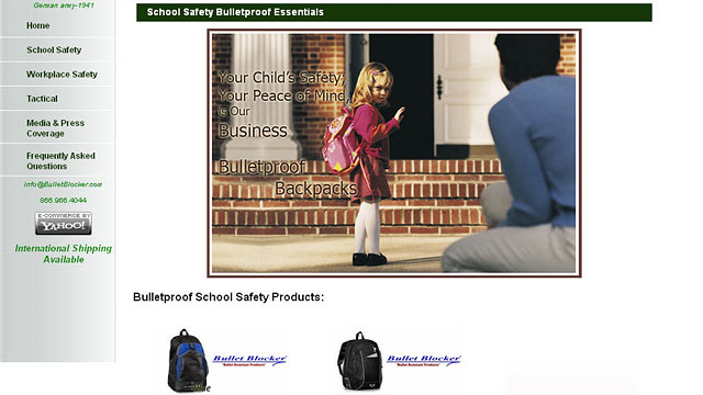 PHOTO: BulletBlocker sells bullet proof backpacks and body armor for kids.