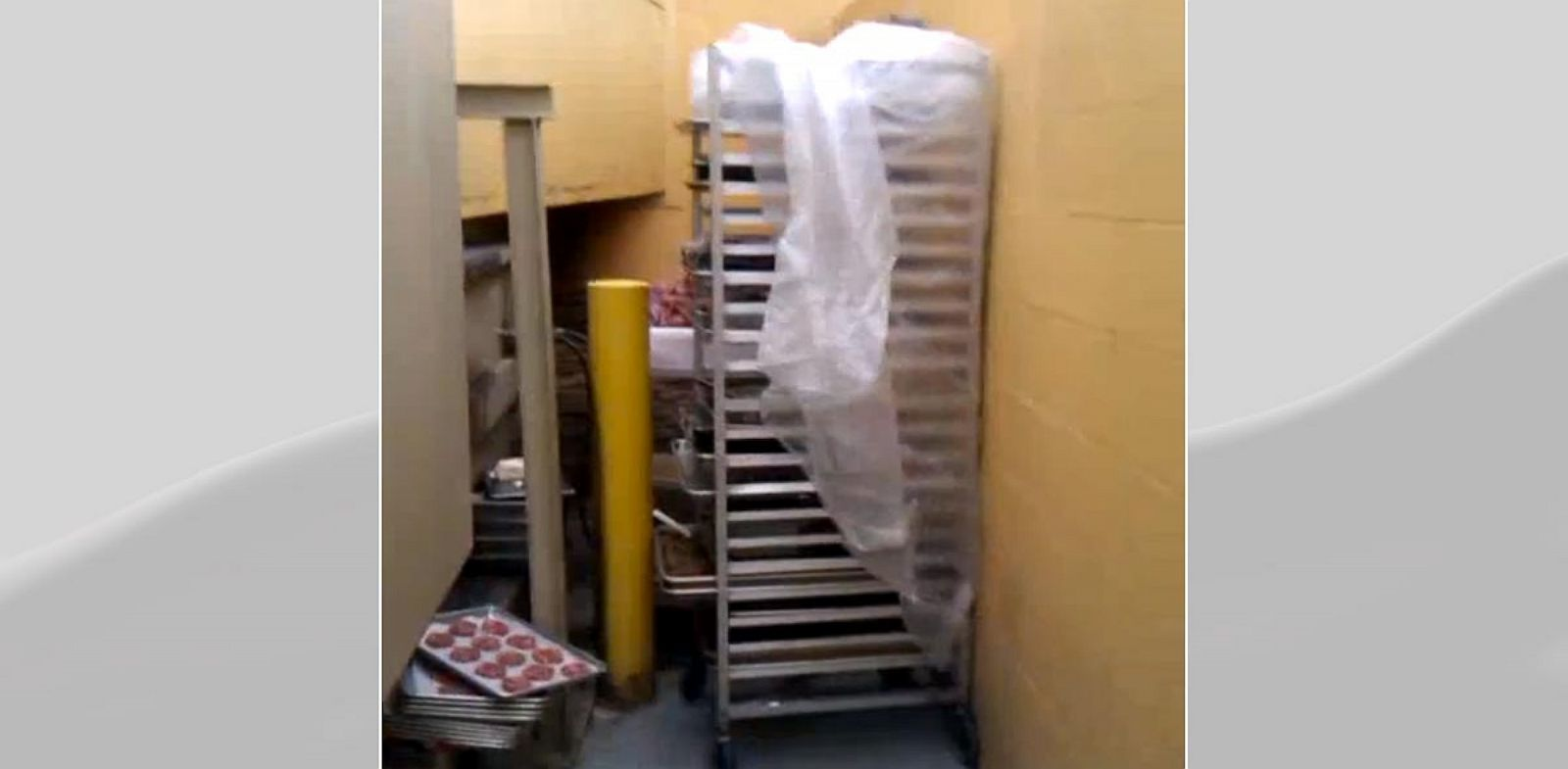 PHOTO: A whistle blower made a video showing a Golden Corral restaurant storing hamburger patties near trash dumpsters in Florida.