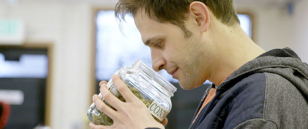 PHOTO: Cannabis reviewer Jake Browne reviews a strain called Super Lemon Haze at the Medicinal Wellness Center in Denver in this undated handout image.