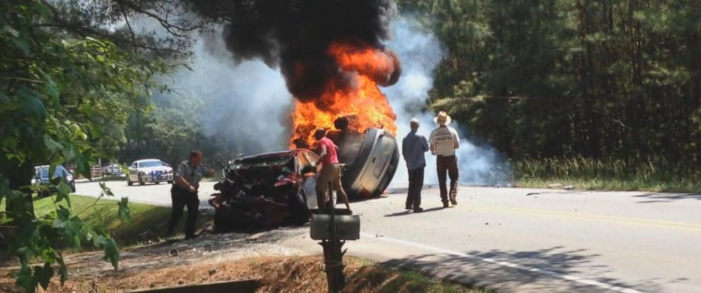 PHOTO: Fort Bragg Army Captain Steve Voglezon and other neighbors helped to pull people from a fiery crash in Chatham County, North Carolina, May 17, 2015.