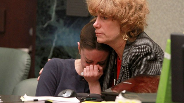 PHOTO: Casey Anthony is comforted by her attorney Dorothy Clay Sims during Anthony's murder trial, June 10, 2011.