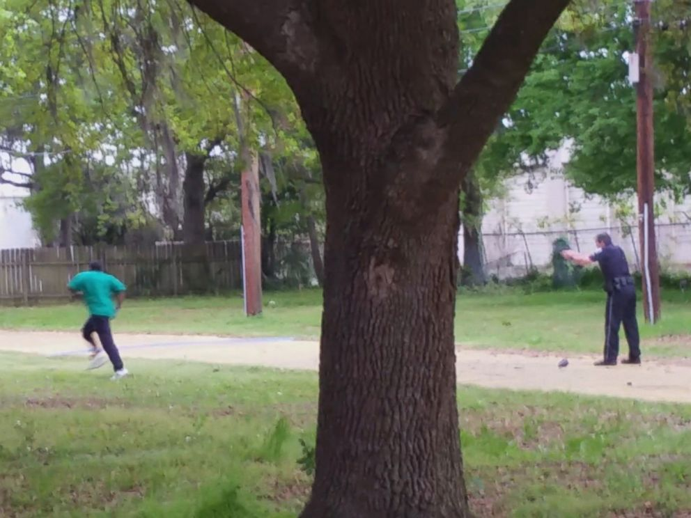 PHOTO: A sequence of images made from a bystander video shows Officer Michael Slager pursuing and then shooting Walter Scott in North Charleston, S.C. on April 4, 2015.