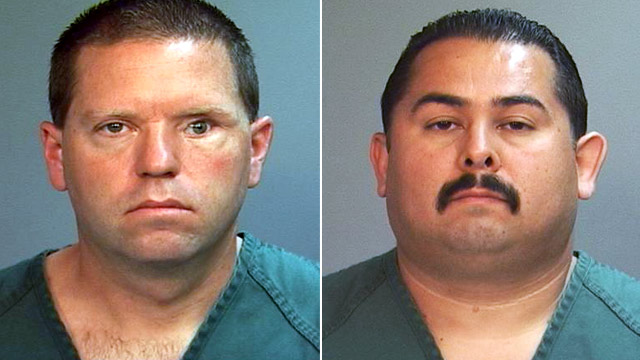 PHOTO: Officer Manuel Ramos and Cpl. Jay Cicinelli mugshots