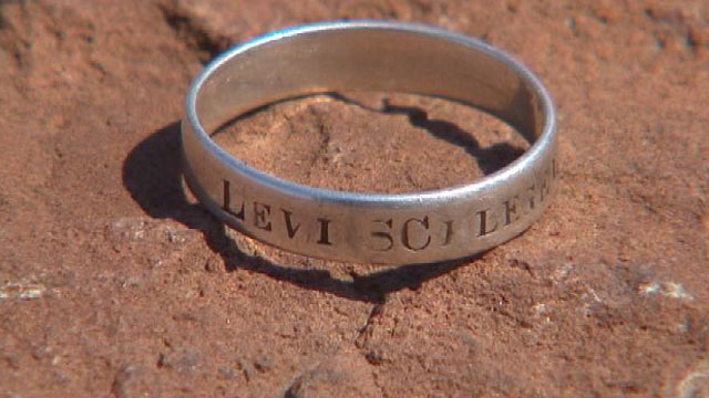 "PHOTO: The ring, which is engraved with ""Levi Schlegel, Co. G., 198th P.V.,"" once belonged to Levi Schlegel of Reading, Pa., a Union Army soldier who served under Gen. Ulysses S. Grant."