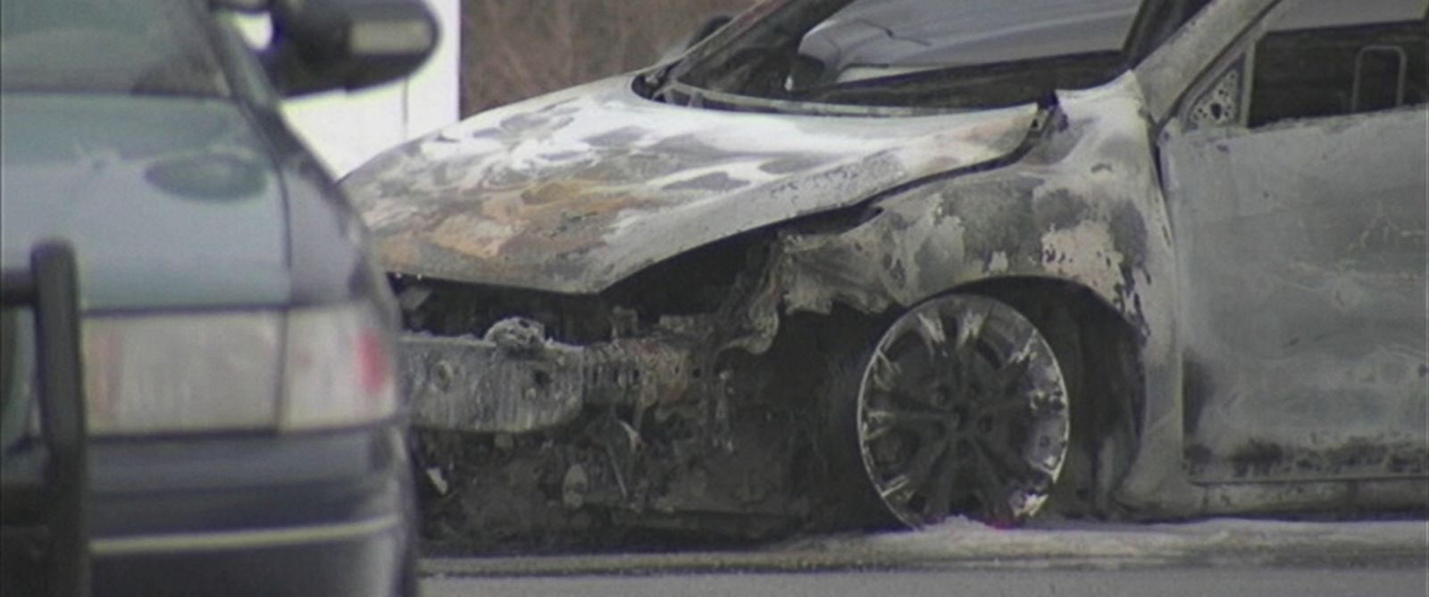 PHOTO: Police were called to the scene after hearing reports of a vehicle that had been set on fire.