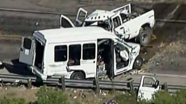 PHOTO: A church bus was involved in a head-on collision with a pickup truck in Texas on March 29, 2017.