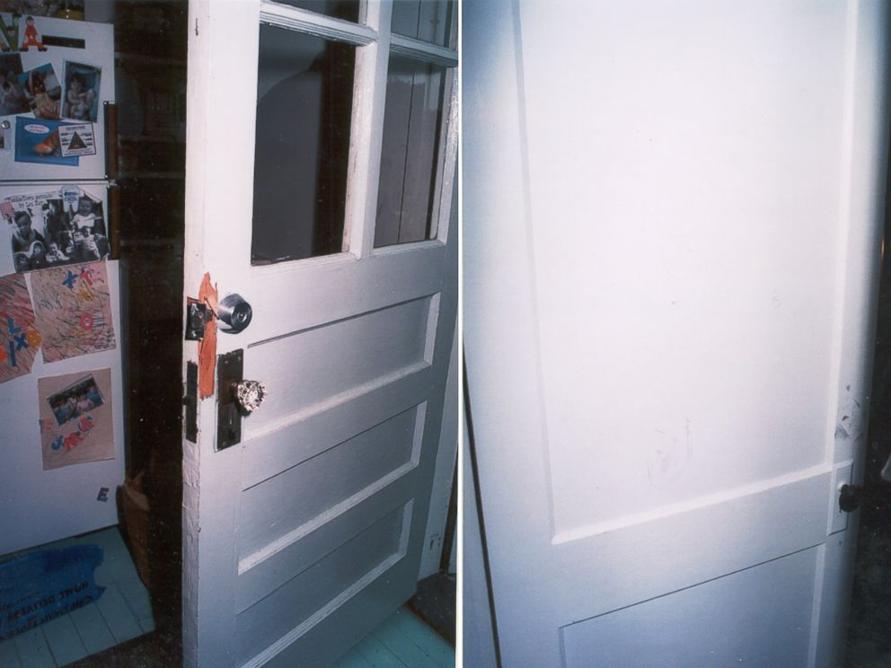 Crime scene photo shows a door at Christa Worthingtons house after she was found dead.