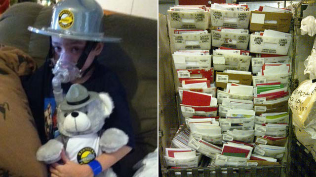 PHOTO: Twelve U.S. Mail all-purpose containers were filled for delivery to Dalton Dingus on Christmas Eve. Dalton, 9, is a Kentucky boy dying of cystic fibrosis. His wish is to set a Guinness record for most Christmas cards.