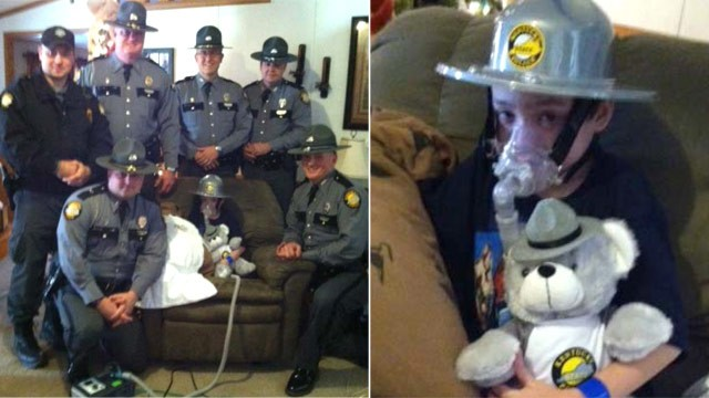 PHOTO: Post 9 troopers visit Dalton Dingus at his home in Magoffin County. Dalton Dingus, 9, is a Kentucky boy dying of cystic fibrosis. His wish to set a Guinness record for most Xmas cards.