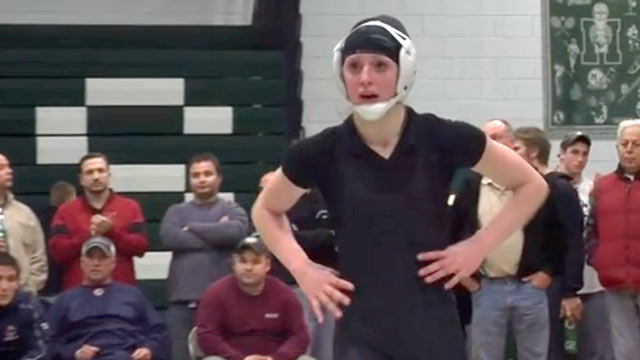 PHOTO: Danielle Coughlin became the first female wrestler to win a state championship in Massachusetts on Feb. 20, 2013.