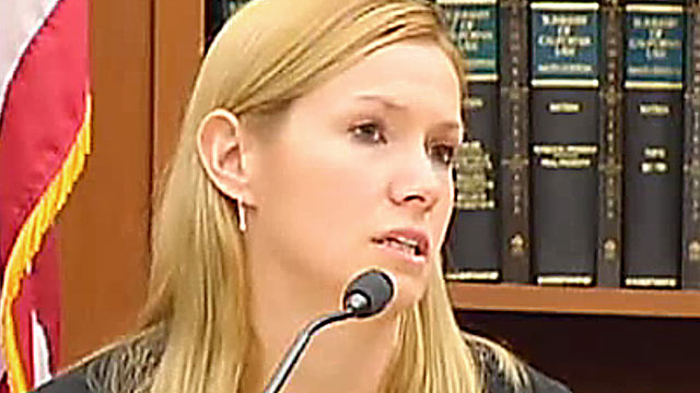 PHOTO: Danielle Robins, the mistress in a deadly love triangle, testified against her lovers wife, who is accused of stabbing her husband to death.