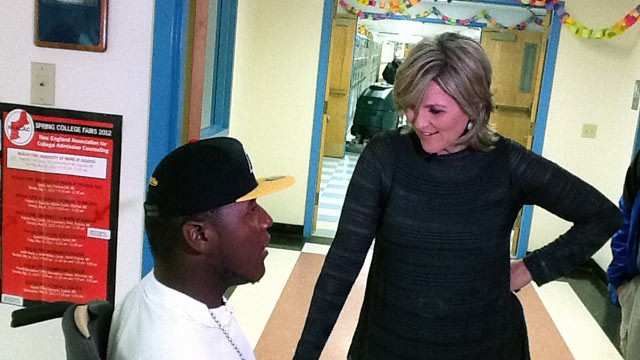 "PHOTO: ""Nightline"" anchor Cynthia McFadden talks with Darius Weems during his ""Believe"" tour in South China, Maine."