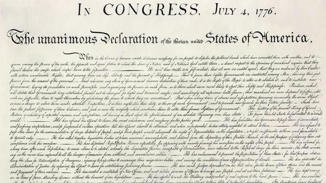 PHOTO:&nbsp;The United States Declaration of Independence