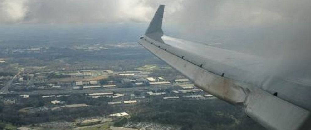PHOTO: The wing of this American Airlines aircraft sustained damage after it hit a deer while at Charlotte Douglas International Airport in Charlotte, North Carolina, on February 15, 2017.