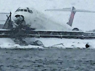 PHOTO: The New York Police Special Ops posted this photo showing a Delta plane that skidded off the runway at Laguardia Airport, March 5, 2015.