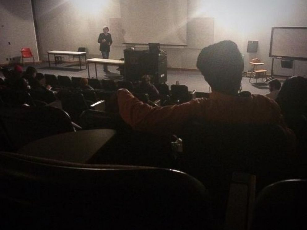 PHOTO: Kristin Shaw posted this photo to Twitter on Dec. 2, 2014 with the caption, Detroit power outage hits class during infrastructure discussion - prof keeps teaching in the dark. @waynestate