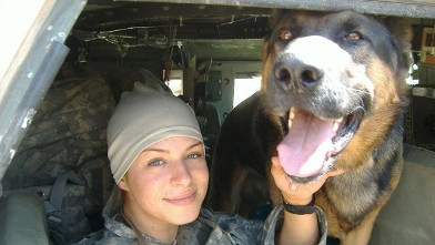 PHOTO: Sgt. Jessica Ruggiero and her dog Beny, a patrol explosive detector dog who was reunited with her after he retired.