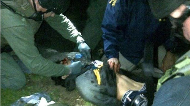 PHOTO: Dzhokhar Tsarnaev is seen being arrested in Watertown, Mass., on April 19, 2013, in connection to the Boston Marathon bombings on April 15, 2013.