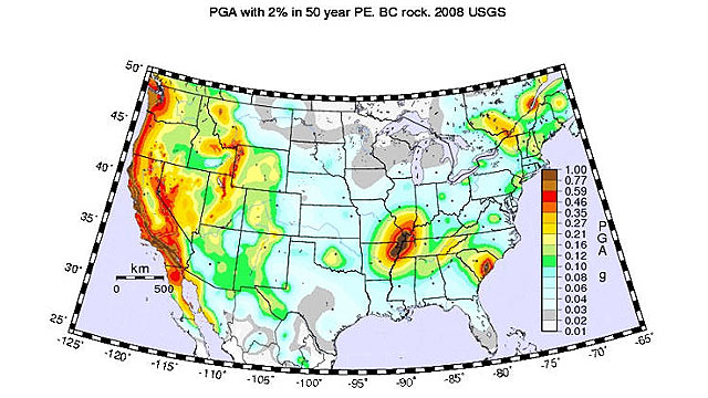 PHOTO: Seen here is a map that shows probability of peak ground acceleration for earthquakes in the continental U.S.