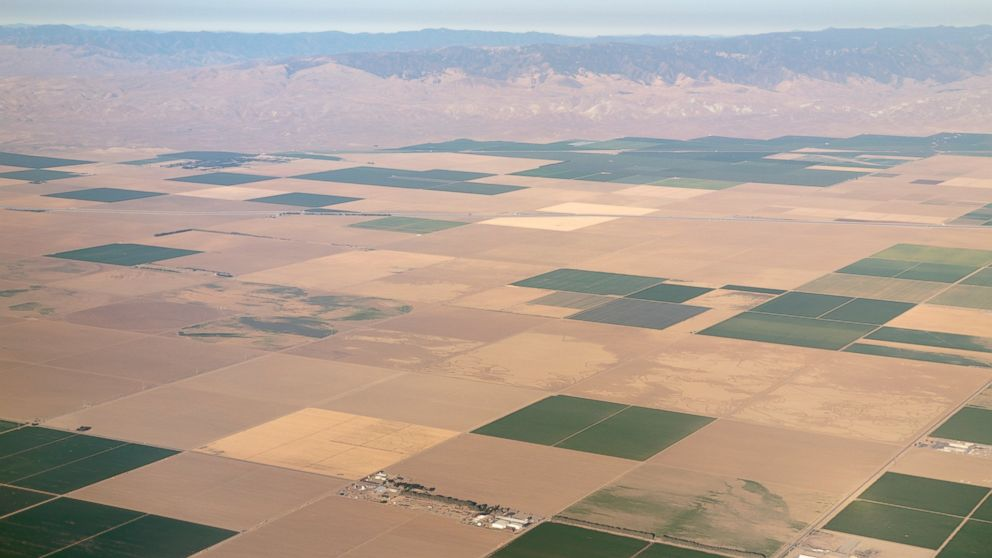 PHOTO: The Westlands Water district, the largest in the United States, is photographed from above, showing the extent of fallowed land due to the drought in Central Valley, Calif., July 5, 2014.