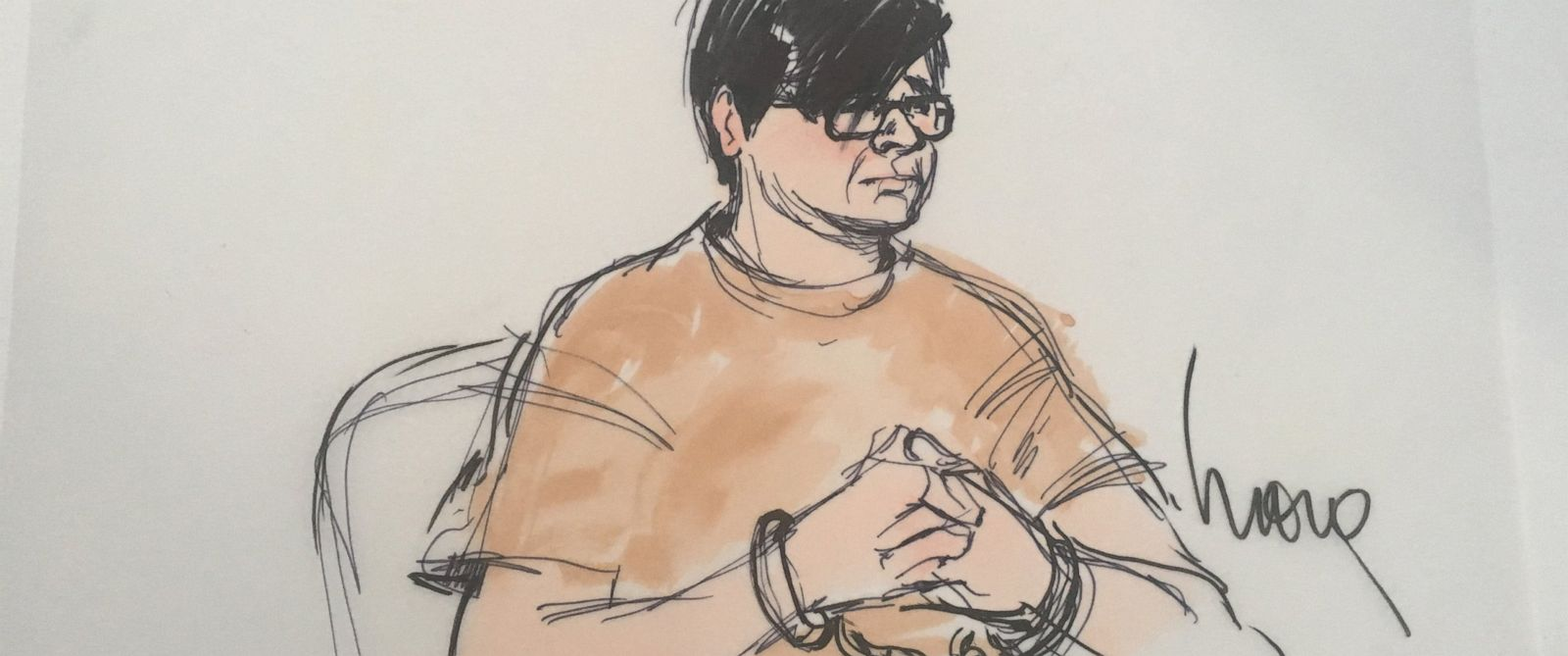 PHOTO: A courtroom sketch depicts Enrique Marquez, a neighbor and friend of one of the San Bernardino shooters, appearing in court on Dec. 17, 2015.
