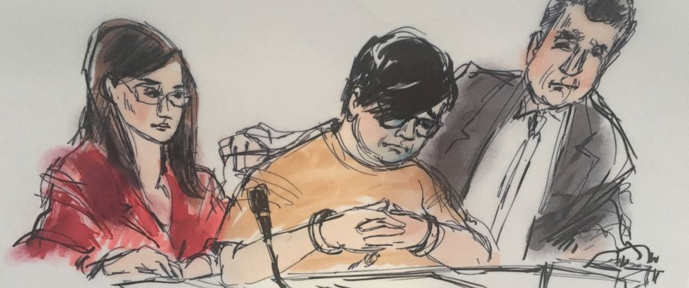 PHOTO: A courtroom sketch depicts Enrique Marquez, center, appearing in court on Dec. 17, 2015.