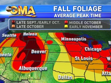 PHOTO: This map shows the average time when leaves reach their peak color change.