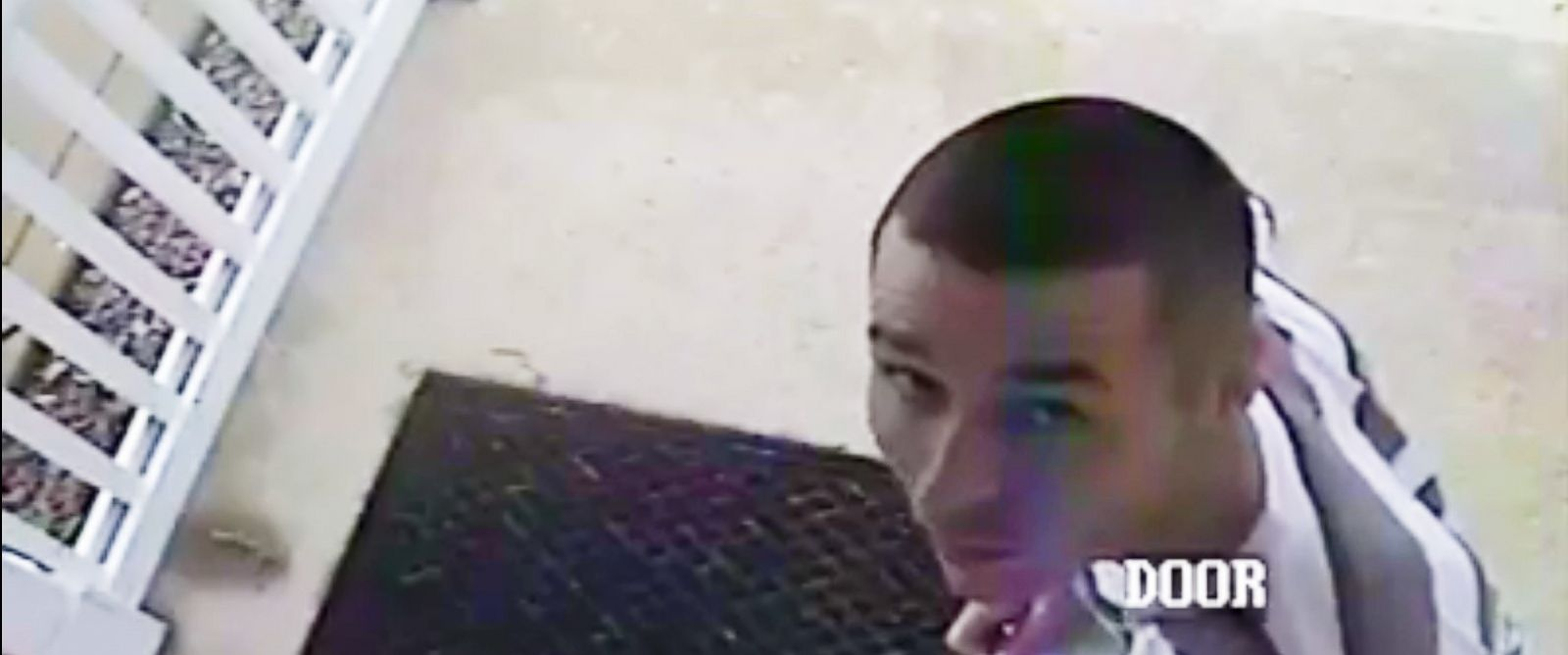 PHOTO: Daniel Dillon posted a video to his Facebook page that police say shows suspect Brandon Nelms looking at a security camera before removing the contents of a Fedex package that had just been delivered to his door on the afternoon of July 23, 2014.