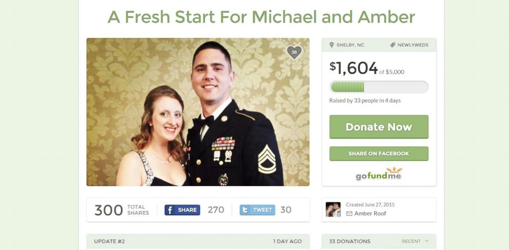 PHOTO: A screen grab made on July 2, 2015 shows the GoFundMe page created by a person claiming to be Amber Roof that was taken down from the site later on the same day.