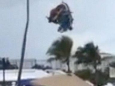 PHOTO: Three children were inside when a bounce house was hurled through the air by a waterspout on a Fort Lauderdale beach.