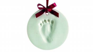 PHOTO: Baby foot print ornament.
