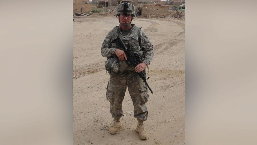 "PHOTO: Ivan Lopez shown here in full combat gear. The Army specialist posted this image on his Facebook profile and mentions in Spanish ""memories of Fallujah 2011."""