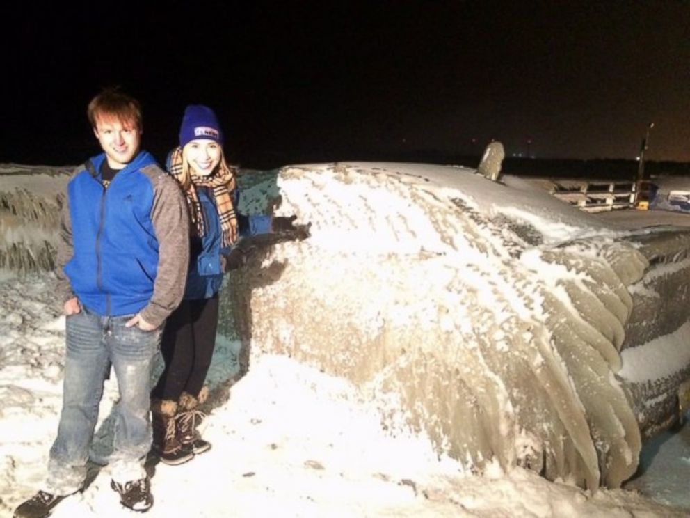 PHOTO: Justin Yelen, 24, found his car completely frozen from waters from Lake Erie in Hamburg, N.Y. Monday after he left it there overnight.