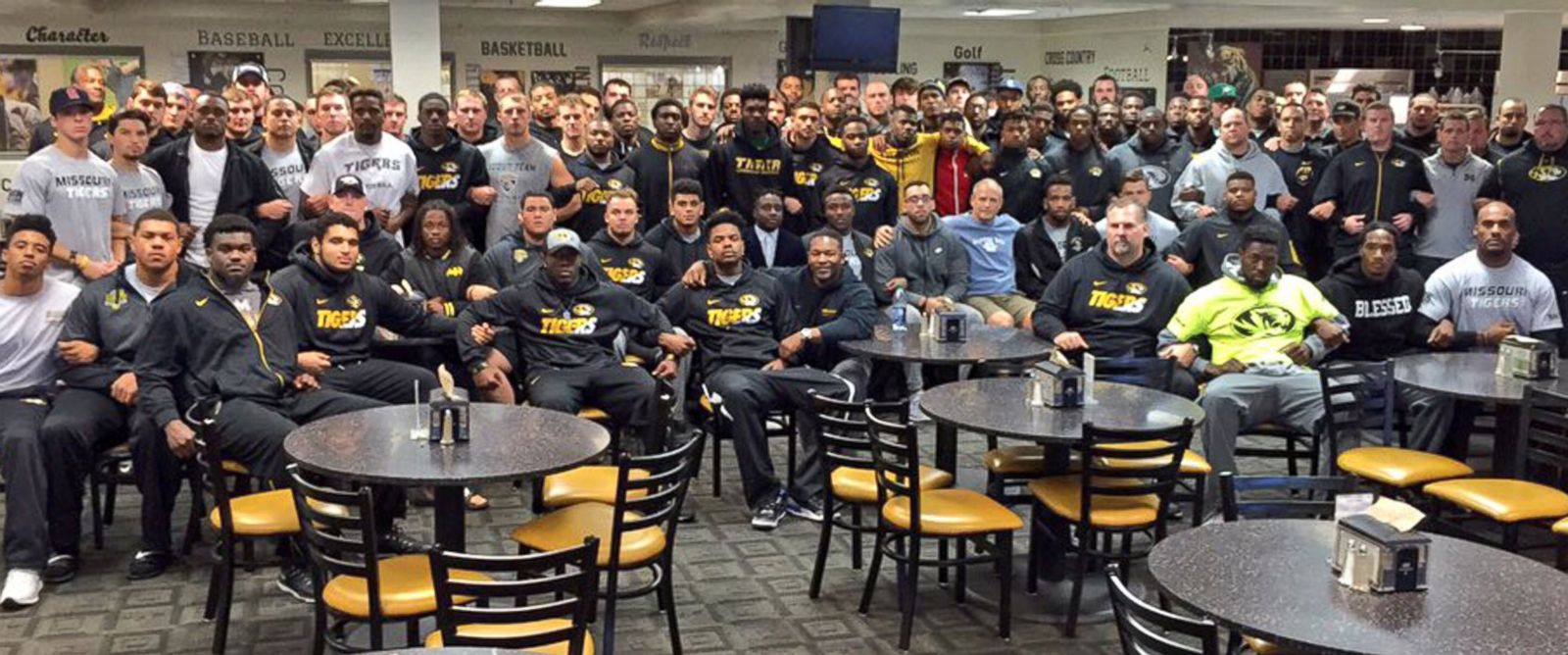 "PHOTO: The University of Missouris head coachs twitter, @GaryPinkel, tweeted this photo with the caption, ""The Mizzou Family stands as one. We are united. We are behind our players. #ConcernedStudent1950 GP,"" on Nov. 8, 2015."