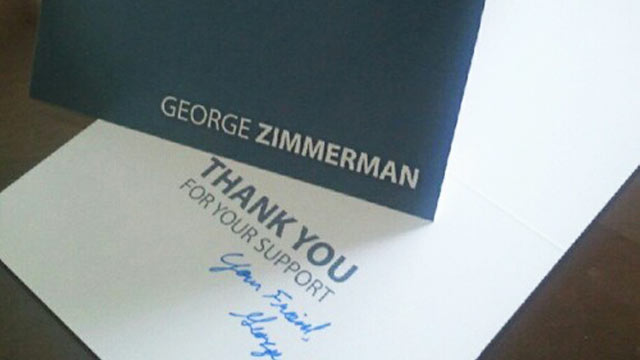 "PHOTO: George Zimmerman is selling signed ""thank you"" cards to help bolster his legal defense funds."