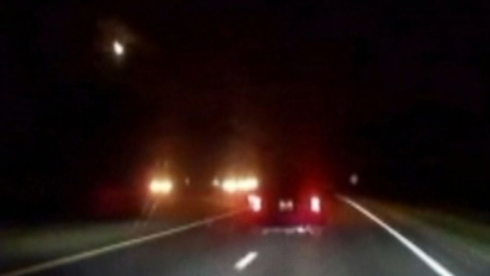 PHOTO: Dan Perjar captured a streak of light in the sky that may have been a meteor while driving on a highway in North Carolina on July 17, 2014.