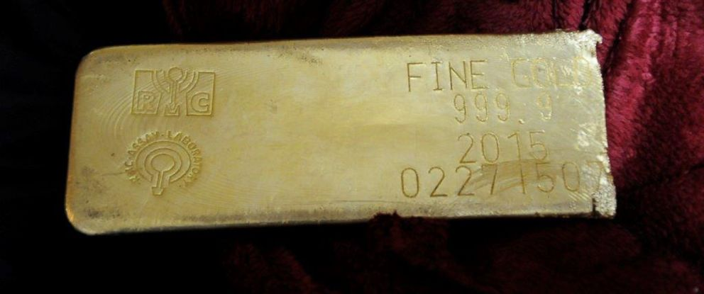 PHOTO: The FBI released an image of a gold bar recovered in South Florida that was stolen during a March 1, 2015, heist along Interstate 95 in North Carolina.
