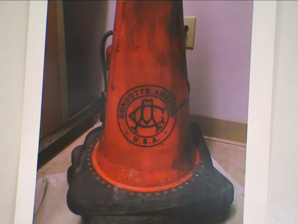 PHOTO: He showed a picture of a traffic cone that was placed behind the vehicle as the suspects allegedly stole the gold.