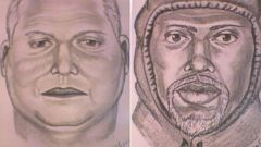 PHOTO: Authorities showed composite sketches of two of three robbery suspects at the news conference, March 4, 2015.