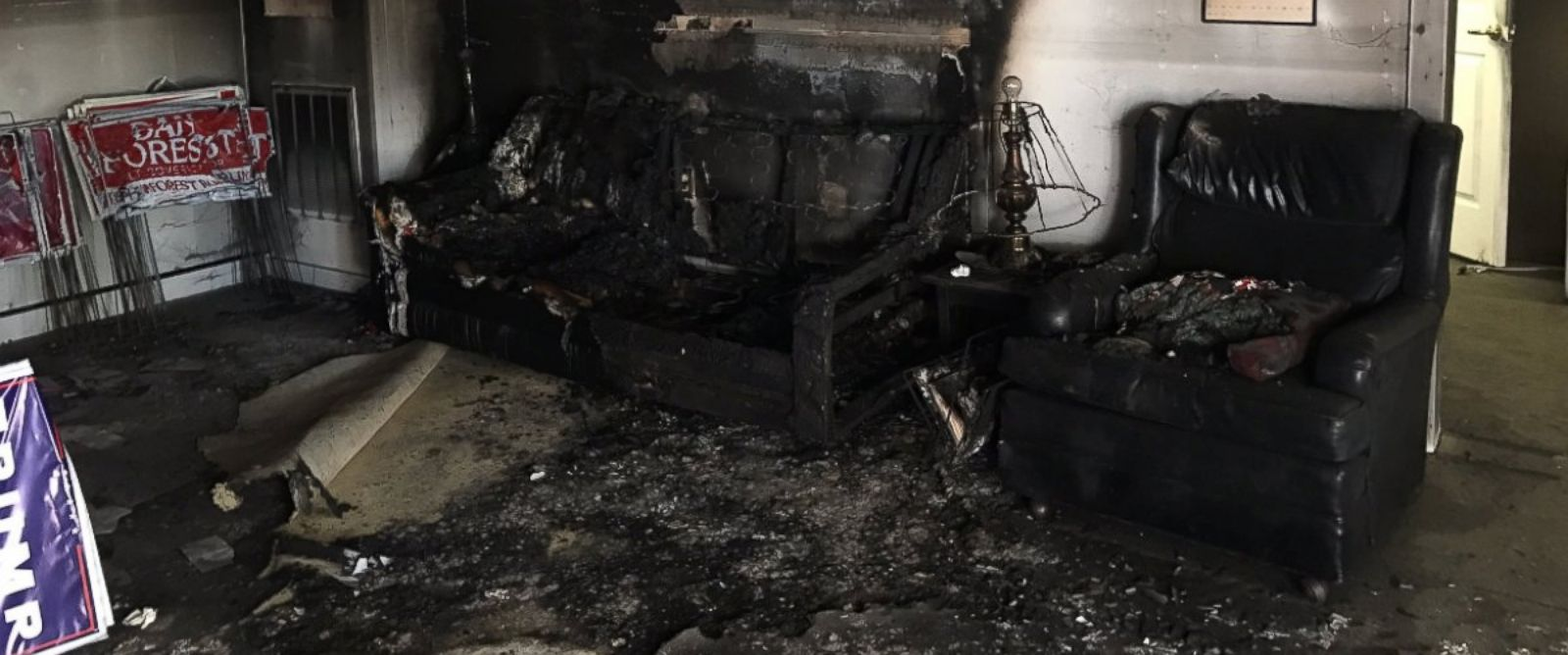 PHOTO: A photo released by the North Carolina GOP saying their office in Hillsborough was firebombed, Oct. 15, 2016.