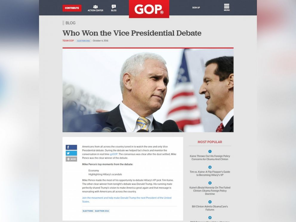PHOTO: A screen grab made from the Republican National Committee website on Oct. 4, 2016 shows a page that was briefly posted to the site declaring that Mike Pence was the winner of the vice presidential debate.