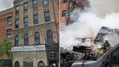 PHOTO: A image from Google Streetview, seen left, shows a building that collapsed in East Harlem, New York on March 12, 2014. At right, debris is seen being cleared by the fire department.