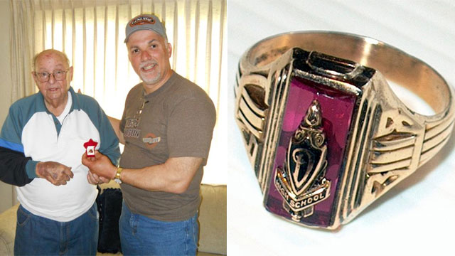 PHOTO: Dunsmuir city worker Tony Congi, DHS alumni Class of ?76, reunites Jesse Taylor Mattos, Class of ?38, with the DHS class ring he lost 72 years ago.