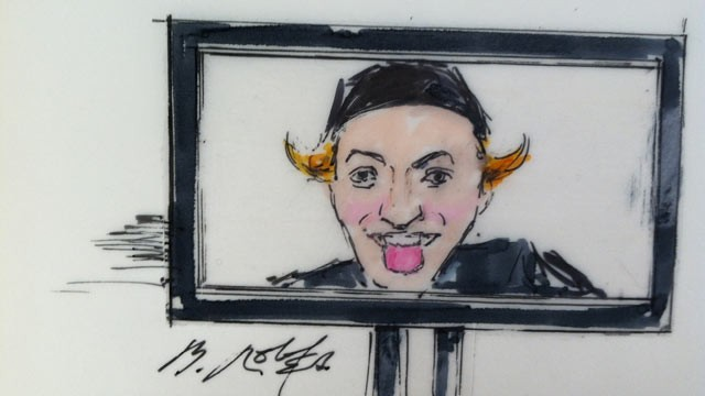 PHOTO: After two days of stoicism in court, it was disturbing self-portraits and images of weapons that elicited smiles and smirks from accused Aurora shooter James Holmes, according to the families of victims who could see him in court.